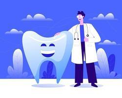 médico com dentes grandes ilustração conceito vetor