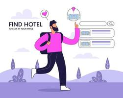 pessoas reservando hotel e pesquisar reserva ilustração conceito de vetor
