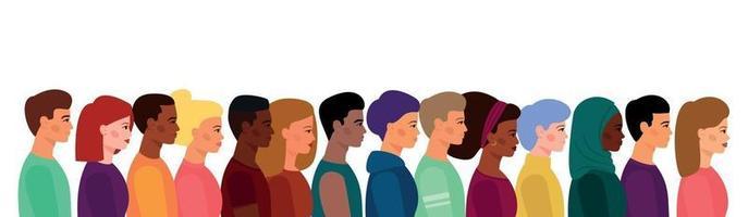 uma multidão de jovens, de diferentes aparências, cores de pele e cabelos vetor
