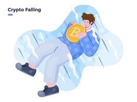bitcoin caindo ilustração vetorial plana. colapso do preço da criptomoeda. conceito de ilustração de falha de criptografia. pessoa com trazer moeda criptográfica e caindo. vetor