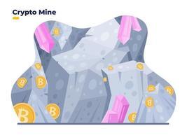 ilustração plana em vetor cripto-mina. conceito de mina bitcoin digital. ilustração do conceito de caverna de cripto-mina. pode ser usado para web, página de destino, aplicativo, apresentação, gráfico de movimento, animação, etc.