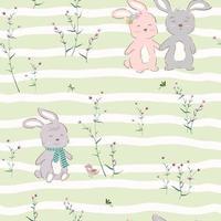 padrão sem emenda com personagem bonito de coelhinhos felizes no jardim violeta vetor