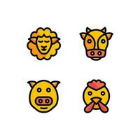 ilustração em vetor de conjunto de ícones de criação de animais