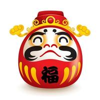 Japanese Daruma doll with hat of god of weatlh     vetor
