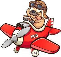 desenho animado piloto pug vetor