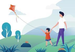 People Flying A Kite vetor