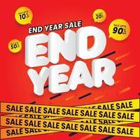desconto de venda design de fim de ano vetor