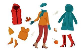conjunto de roupas da moda outono vetor