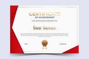 certificado de luxo de modelo de prêmio de apreciação com linha dourada e crachá. vetor
