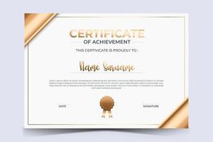 certificado de luxo de modelo de prêmio de apreciação com estilo dourado. vetor