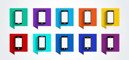 conjunto de ícones de dispositivos móveis, design plano, ilustração vetorial em 10 opções de cores para design de interface de usuário e site vetor