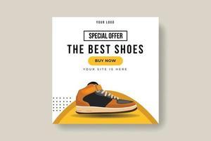 modelo de postagem de banner em mídia social de calçados da moda esportiva produto de marca vetor