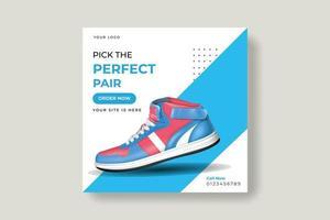 tênis banner de mídia social, design de modelos de postagem vetor