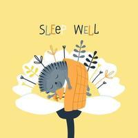 um ouriço fofo dorme debaixo de um cobertor dentro de uma flor vetor