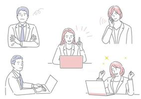 empresário e mulher de negócios trabalhando em seu escritório expressando emoções diferentes isoladas em um conjunto de fundo branco vetor