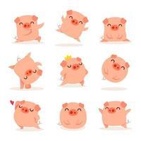 Collection of little piggy vetor