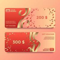Ribbon Gift Card Voucher Templates Vector