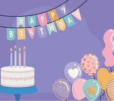 guirlanda de feliz aniversário com bolo e balões em um fundo roxo vetor