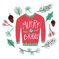 Cuter Sweater With Lettering, Leaves And Nuts vetor