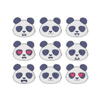 Vector Panda Facial Expressions