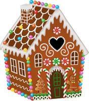 casa de pão de mel de natal com doces e biscoitos vetor