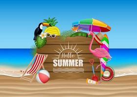 Olá cartaz de verão com elementos de praia, flores tropicais, folhas, pássaros e letreiro de madeira na paisagem da praia vetor