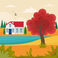 paisagem de outono com uma linda casinha na colina. ilustração vetorial fofa em estilo simples vetor