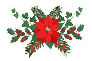 composição floral de Natal com plantas e bagas de inverno. elemento para cartão de convite, cartaz, banner, cartão de felicitações, cartão postal. ilustração vetorial, isolada no fundo branco. vetor