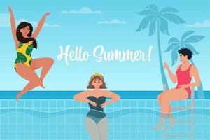belas mulheres internacionais em trajes de banho relaxantes na piscina ao fundo do mar. Olá cartaz de verão. ilustração vetorial em estilo moderno simples vetor