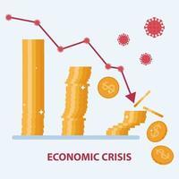 conceito de crise econômica devido à pandemia de coronavírus covid-19. a seta para baixo atinge as moedas. design plano de vetor