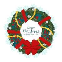 guirlanda de Natal com galho de pinheiro, bagas de azevinho, guirlanda decorada e laço vermelho. ilustração vetorial em estilo simples vetor