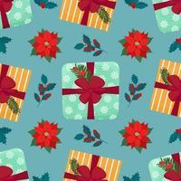 padrão sem emenda de Natal com caixa de presente e plantas. ilustração isolada do vetor