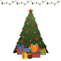 decorou a árvore de natal com presentes isolados em um fundo branco com uma guirlanda vetor