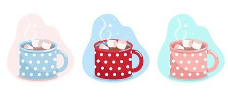caneca com cacau e marshmallows, caneca azul, vermelha e rosa em bolinhas brancas, ilustração em vetor plana, isolado, desenho animado