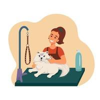 aliciamento para animais de estimação, menina tosquia um cachorro, ilustração vetorial em estilo simples, desenho animado vetor