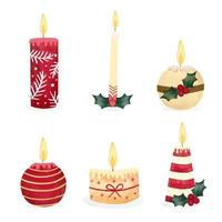 Cute Christmas Candle Collection vetor