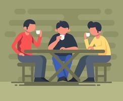 Coffee Shop Meeting Illustration vetor
