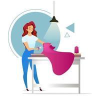 ilustração em vetor cor lisa designer de moda. atelier. alfaiate feminino. mulher fazendo roupas. estúdio de costura. tecido de corte de menina. costureira. personagem de desenho animado isolado em fundo branco