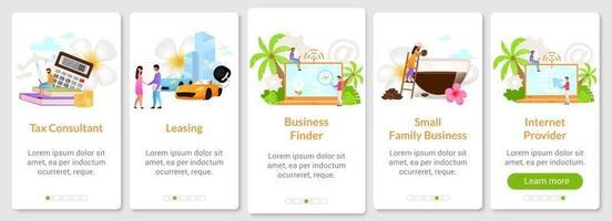 modelo de vetor de tela de aplicativo móvel de integração de negócios indonésio. locação. provedor de internet. passo a passo do site com caracteres planos. conceito de interface de desenho animado de smartphone ux, ui, gui