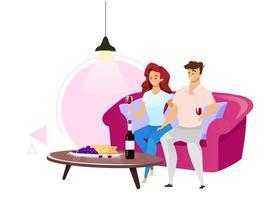 casal bebendo vinho tinto ilustração vetorial de cor lisa. homem e mulher no sofá na aconchegante sala de estar. personagens masculinos e femininos com copos cheios de bebida alcoólica. personagem de desenho animado isolado em branco vetor