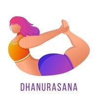 ilustração em vetor plana dhanurasana. pose de arco. mulher caucausiana fazendo ioga em roupas esportivas laranja e roxas. treino, fitness. exercício físico. personagem de desenho animado isolado em fundo branco