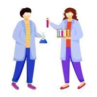 cientistas em jalecos ilustração vetorial plana. estudando medicina, química. realização de experimento. Químicos com tubos de ensaio, balões de laboratório isolados personagens de desenhos animados no fundo branco vetor