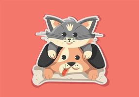 Cat and Dog Stickers vetor