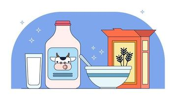 Milk And Cereals Vector
