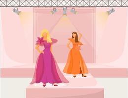 ilustração em vetor cor plana de meninas de passarela da moda. modelos demonstram novas tendências, roupas e acessórios. nova coleção de desfile de mulheres isoladas de personagem de desenho animado em fundo rosa