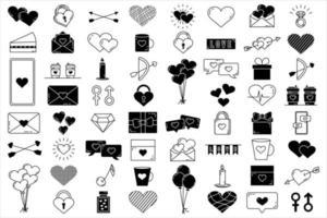 um conjunto de elementos vetoriais editáveis, coleção de dia dos namorados, com ícones isolados de traço editáveis em um fundo branco vetor