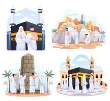 conjunto pacote de casal muçulmano está fazendo a peregrinação islâmica hajj. ilustração vetorial vetor