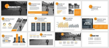 Orange and Gray Business Presentation Slides vetor
