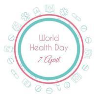 World health day. Hand drawn medical illustration. Pharmacy vector background.