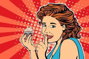 Pop art girl diet cake retro vector